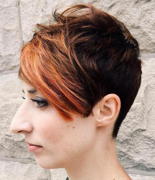 dark brown pixie with long red bangs