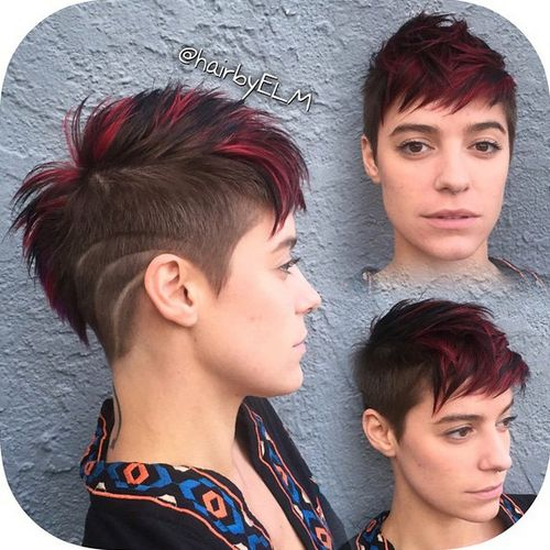 spiky pixie fauxhawk with burgundy highlights