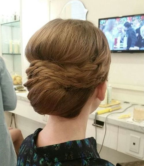 formal chignon prom hairstyle for long hair