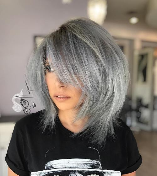 Gray Layered Bob With Bangs