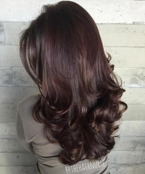Long Curled Brunette Hairstyle With Layers