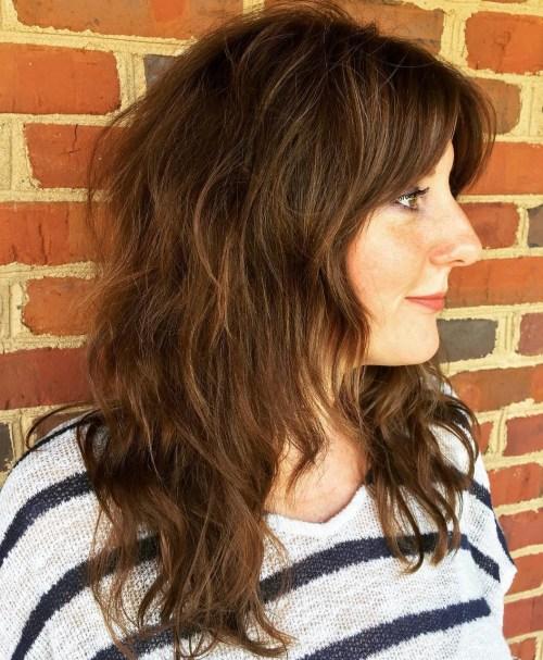 Medium-To-Long Wavy Shag Hairstyle
