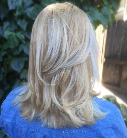 Platinum Blonde Layered Hairstyle