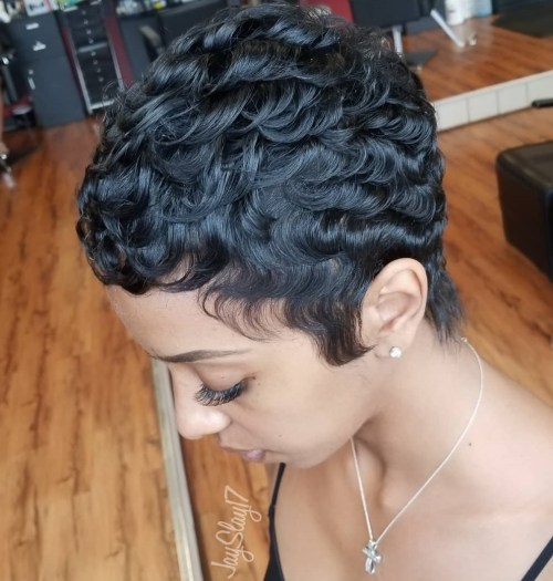 Short Curly Black Cut