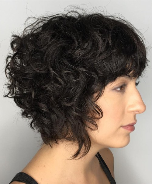 Short Curly Hair With Bangs And Layers 7