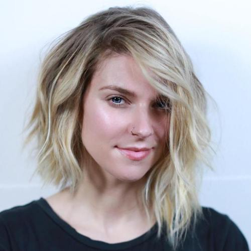 Choppy Asymmetrical Blonde Bob