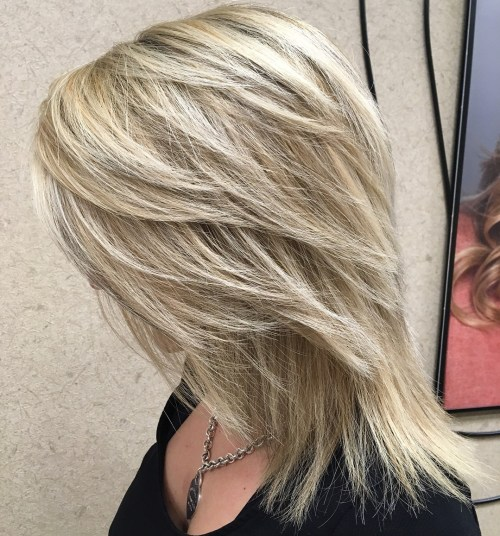 Medium Layered Blonde Haircut