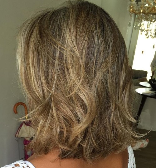 Tousled Bronde Lob Hairstyle