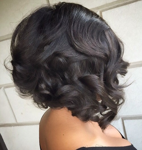 Curly Angled Bob For Black Women