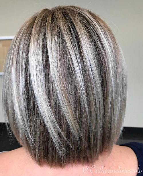 Long Straight Ash Blonde Balayage Bob