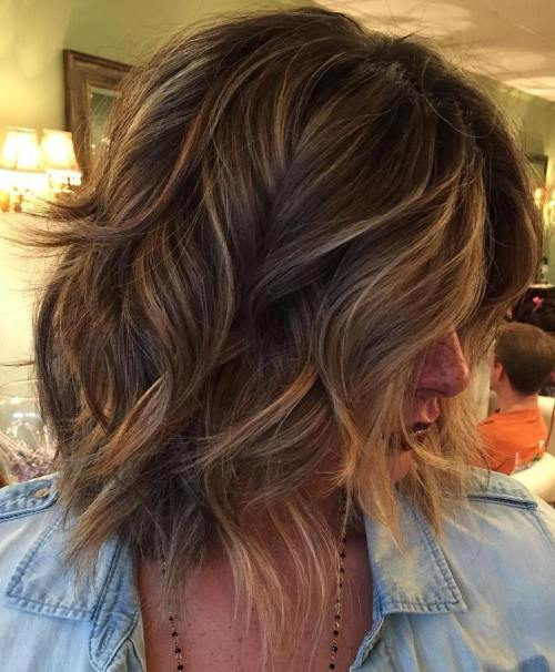 80 sensational medium length haircuts for thick hair in 2017 mid length wavy layered bob urmus Images