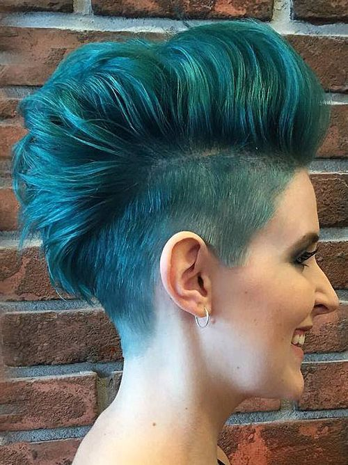 punky voluminous turquoise fauxhawk