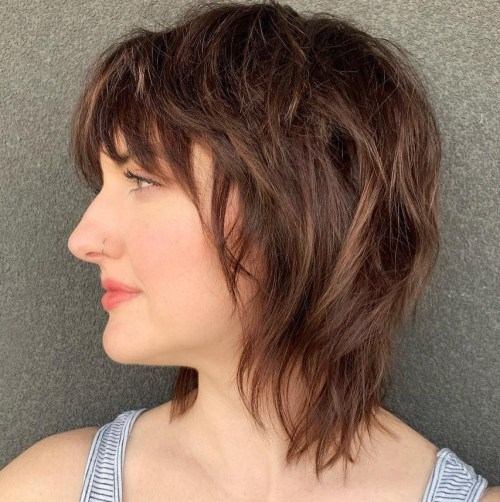 Shorter Choppy Shaggy Haircut With Bangs