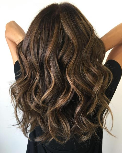 Wavy Chocolate Balayage Hair