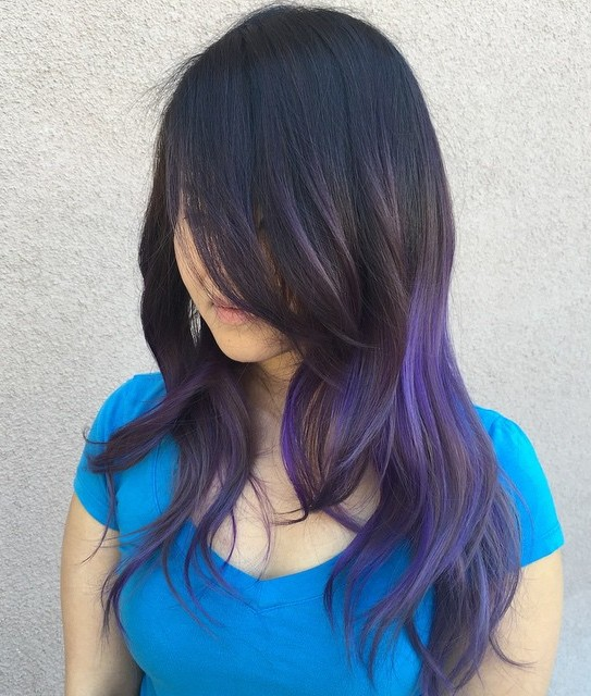Black Layered Hair With Purple Balayage