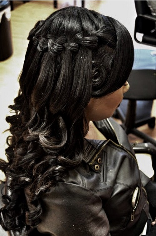 black wedding half up hairstyle