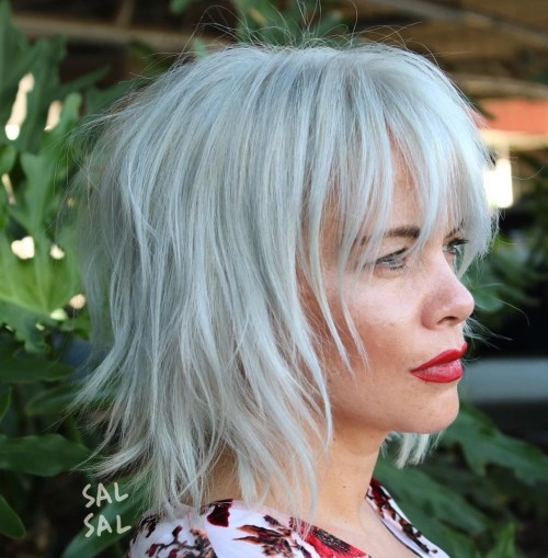 Gray Shaggy Bob