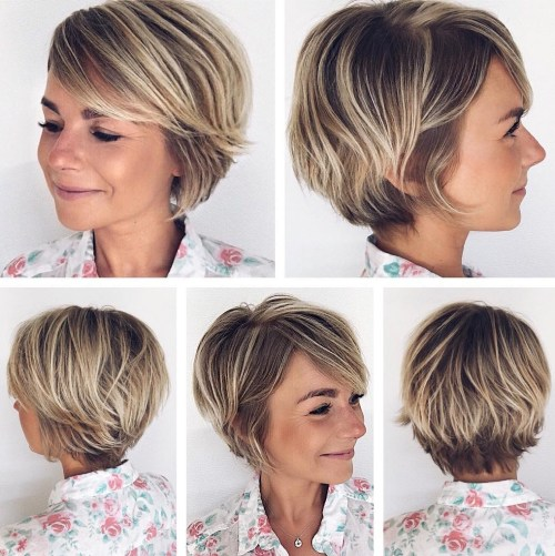 Pixie Bob With Side Bangs And Blonde Highlights