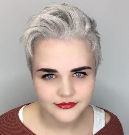 Short Gray Pixie For Round Faces