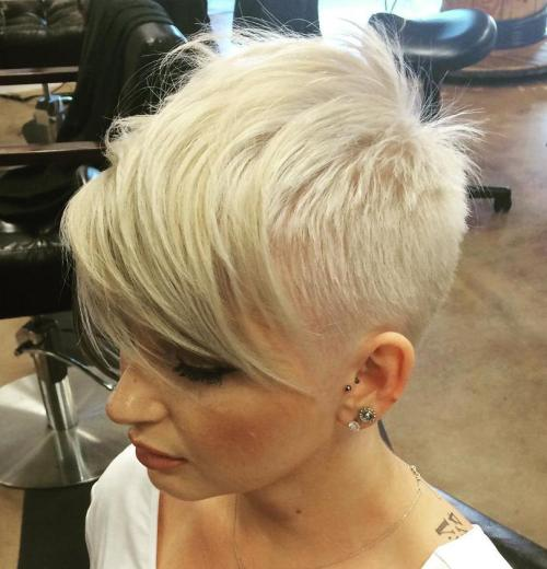 Extra Short Blonde Hairstyle With Bangs