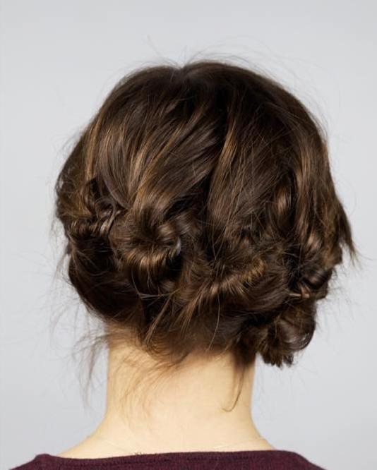 Multi Knots Updo For Shorter Hair
