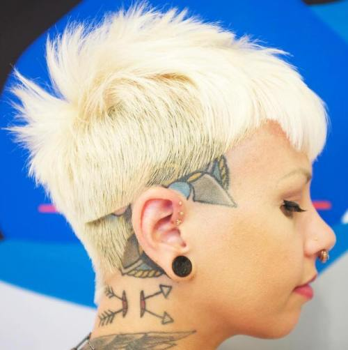 Punk Blonde Pixie With Head Tattoo