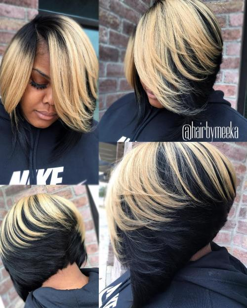 Black Feathered Bob With Blonde Balayage