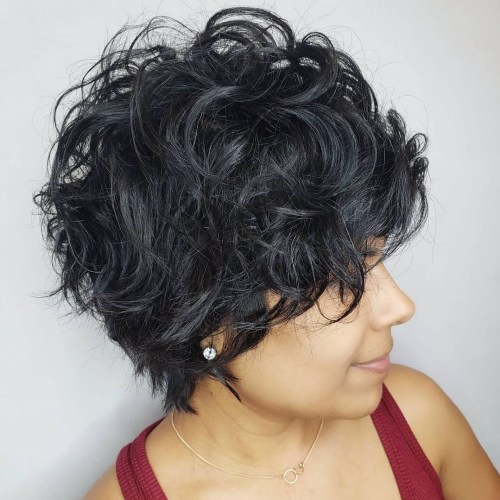 Short Blue-Black Tousled Curly Hairstyle