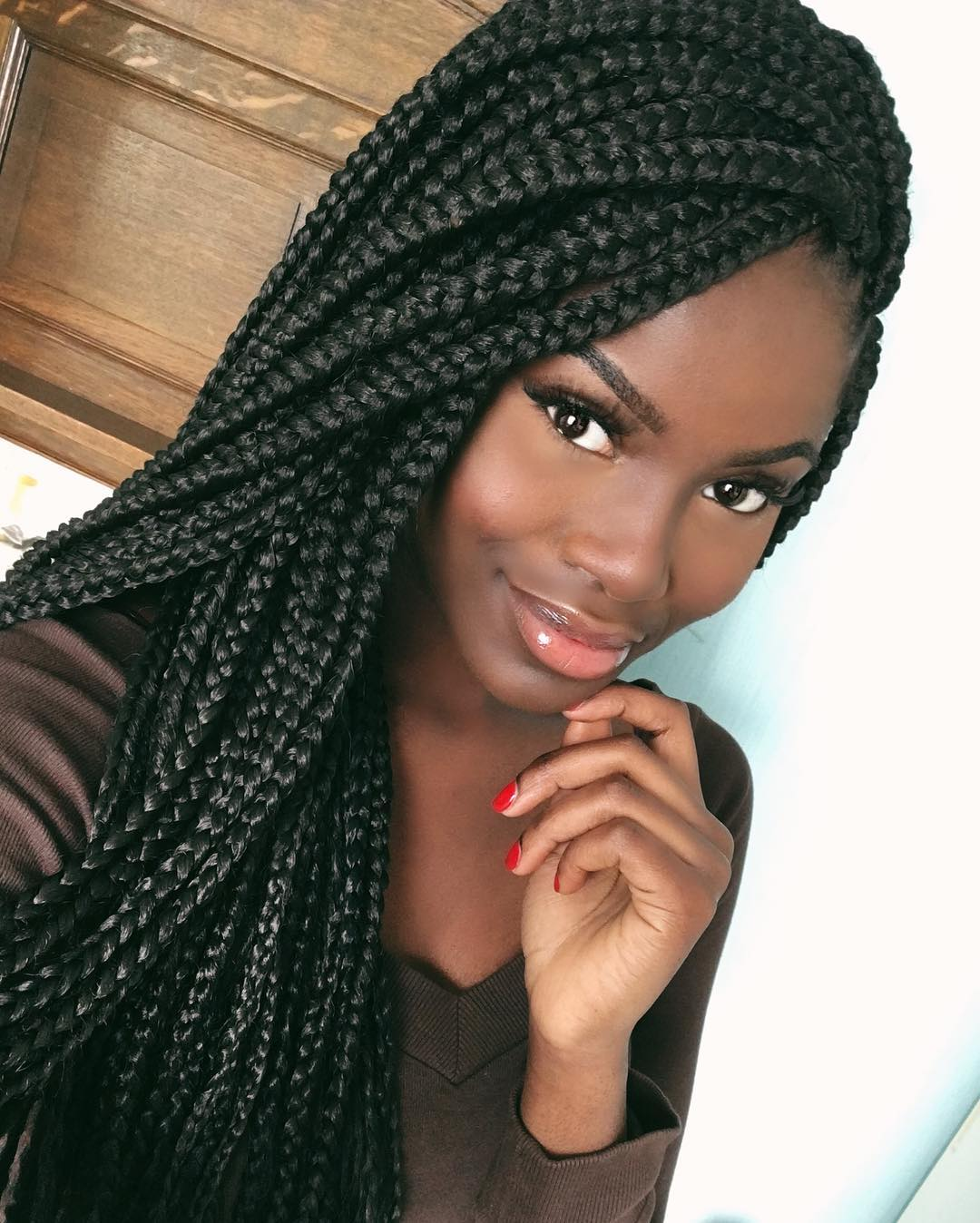 side swept box braids