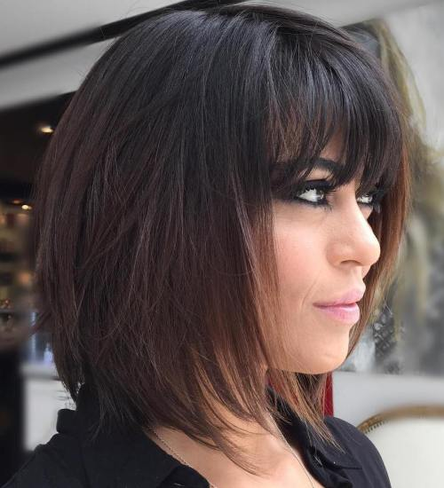 Short Layered Bob Hairstyles With Bangs: 80 Sensational Medium Length Haircuts For Thick Hair In 2019
