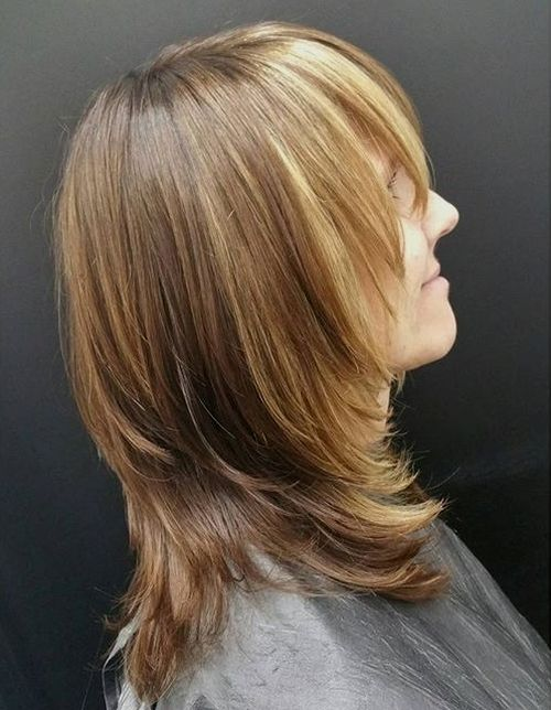 layered haircut with bangs