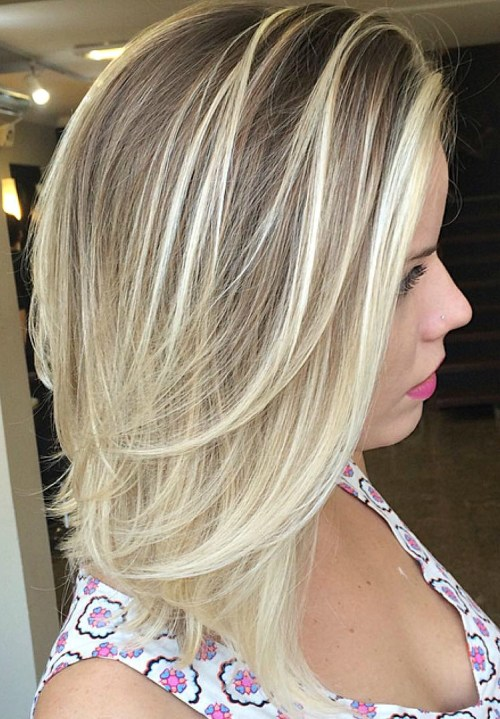 Mid Length Layered Bronde Balayage Hair