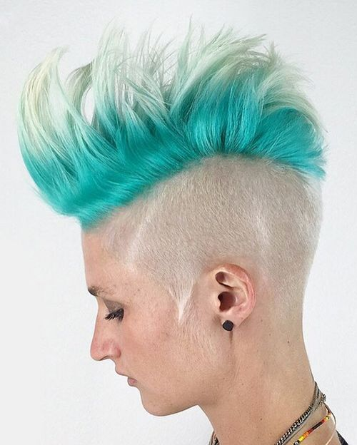 women's platinum and turquoise Mohawk