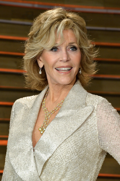 Jane Fonda layered hairstyle with bangs