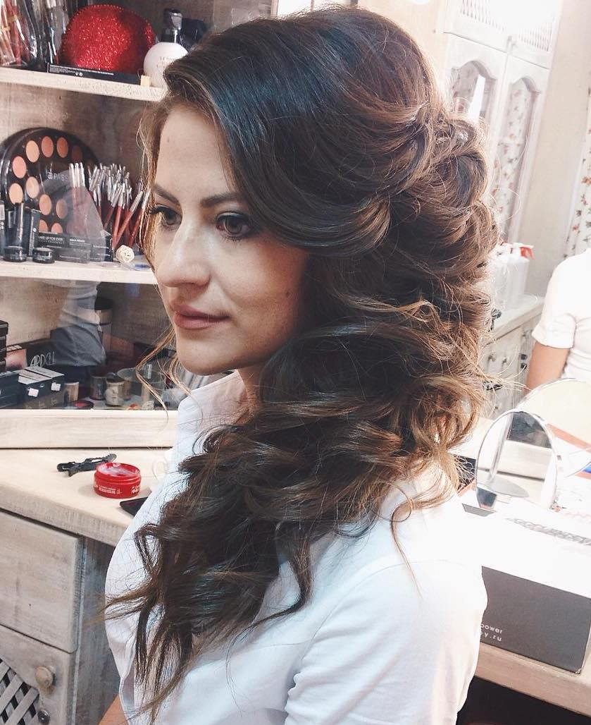 Superior Curly Side Downdo For Long Hair