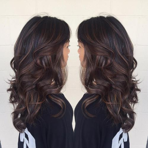 Long Chocolate Balayage Hair