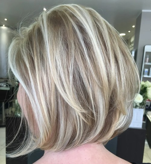 Tousled Layered Blonde Balayage Bob