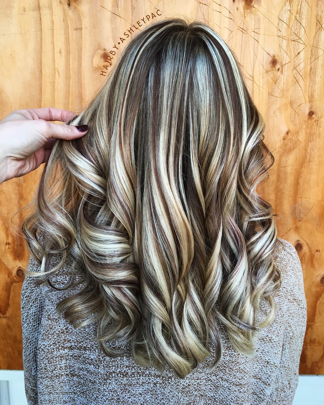 highlights lowlights with Dark brown blonde hair