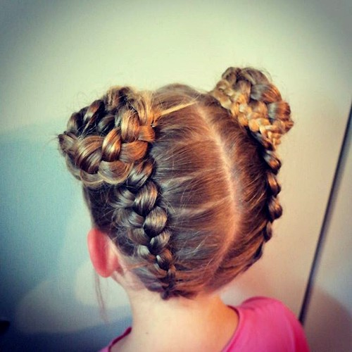 braids and buns little girls hairstyle