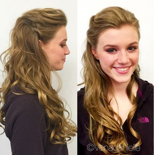long curly half up hairstyle for long faces