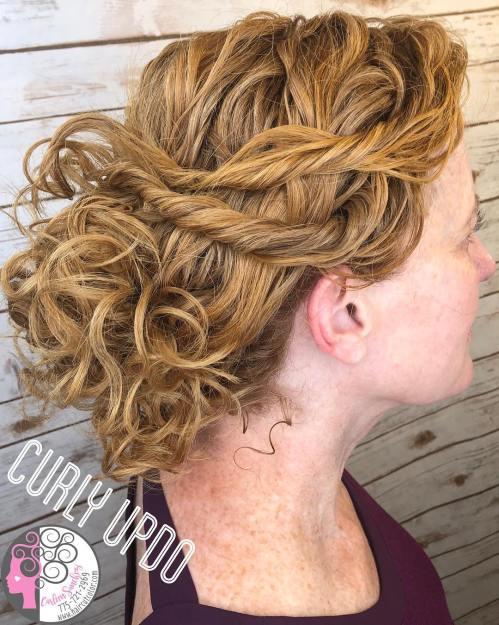 Loose Curly Golden Blonde Updo