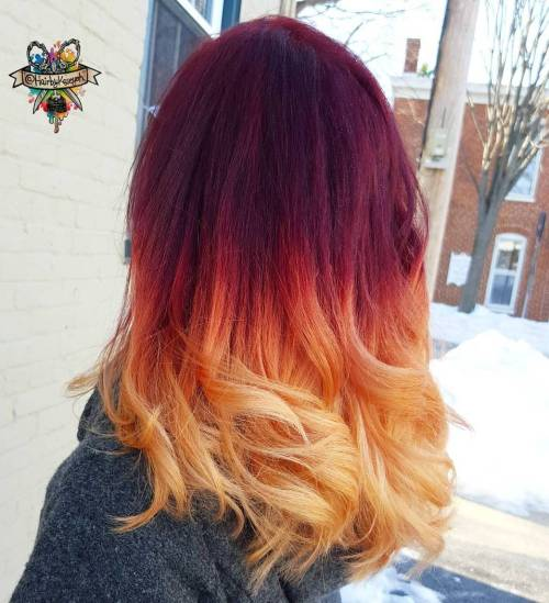 Burgundy To Strawberry Blonde Ombre