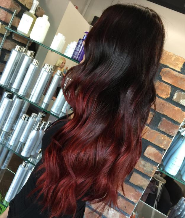 Long Black To Maroon Ombre Hair