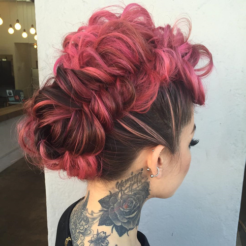pink funky mohawk updo with messy fishtail braid