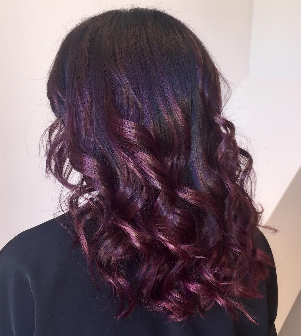 Picture of black and magenta balayage hair - Purple Balayage For Black Hair