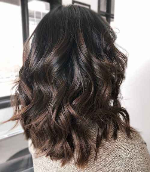 Wavy Dark Chocolate Balayage Hair