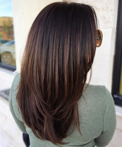 Black Hair with Dark Chocolate Balayage