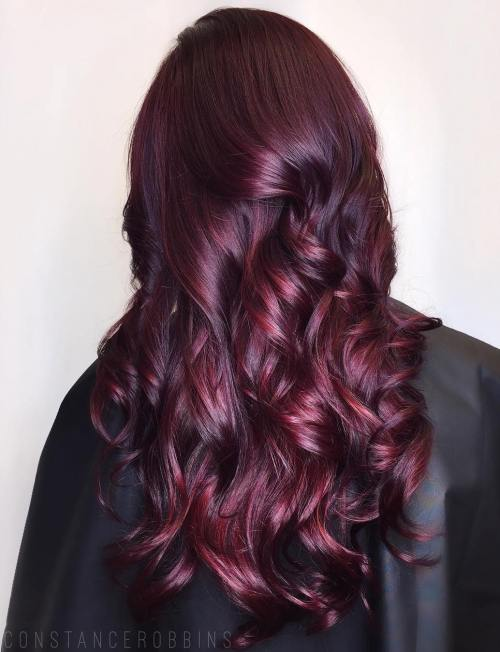 Long Burgundy Hair With Maroon Highlights