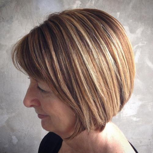 Over Brown Bob With Caramel Balayage