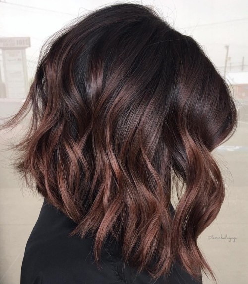 Angled Wavy Chocolate Lob